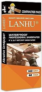 LANHU 320 Grit Sandpaper for Wood Furniture Finishing, Metal Sanding and Automotive Polishing, Dry or Wet Sanding, Multipurpose Sandpaper, 9 x 3.6 Inches, 40-Sheets