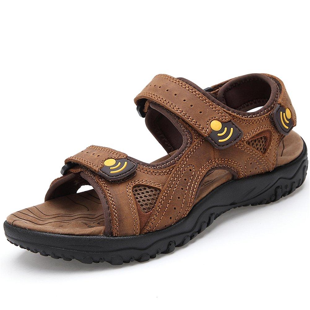 Toptak Sandalias De Cuero para Hombre Zapatos con Correa Marrón para Caminar Al Aire Libre Verano,US8.5-EU43 US8.5-EU43