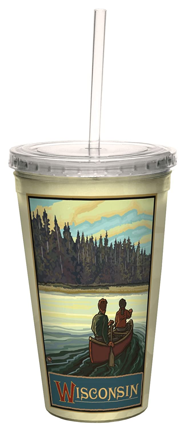 Lanquist Artful Traveler Double-Walled Cool Cup with Reusable Straw 16-Ounce Tree-Free Greetings cc33295 Scenic Wisconsin Canoeing by Paul A
