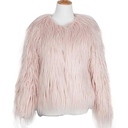 Saihui Chaqueta de piel sintética de zorro, para mujer, cálida, chaquetón para el