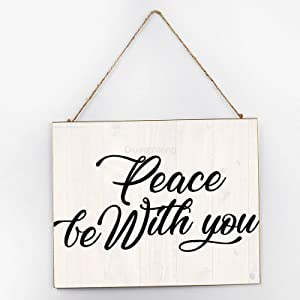 Diuangfoong Peace Be with You Inspirational Wall Art, Inspirational Signage, Wooden Signs for Home Decor Kitchen Bathroom, Wooden Frame Wall Hanging Sign 10x12x0.2 Inch