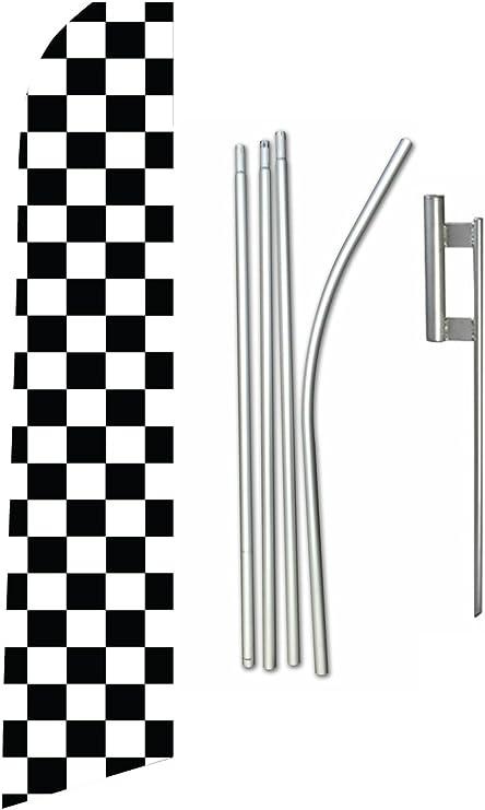 Blue /& White Checkered Swooper Feather Flag Kit