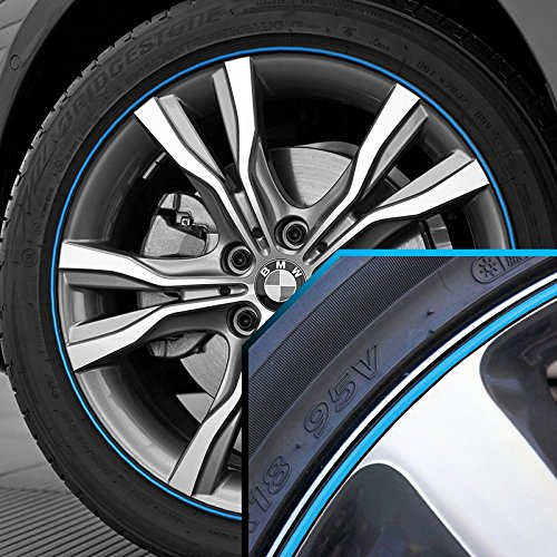 Wheel Bands Sky Blue in Black Pinstripe Edge Trim for BMW 2 Series 13-22' Rims UpgradeYourAuto