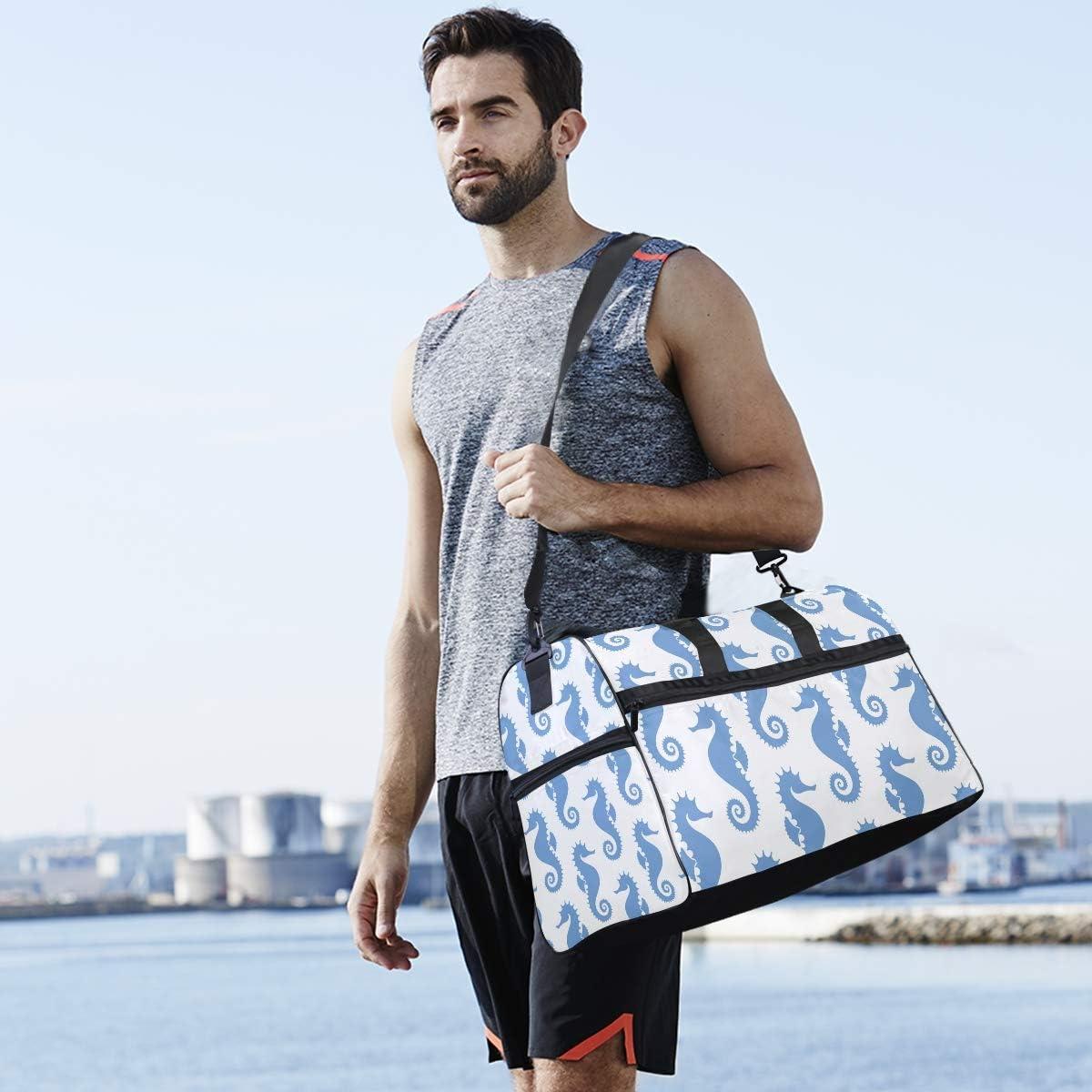 TFONE Sea Horse Ocean Animal Duffel Bag Sports Gym Weekend Bags with Shoe Compartmen