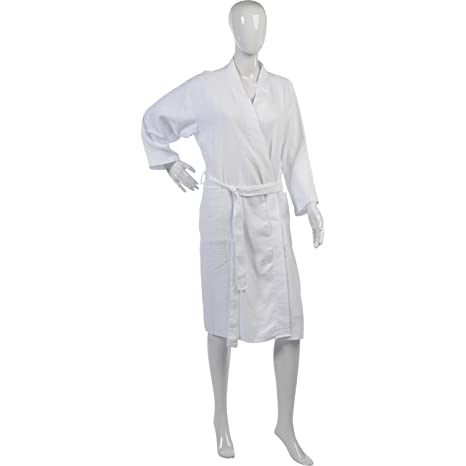 Ladies Lightweight Waffle Dressing Gown 100% Cotton Long Sleeved ...