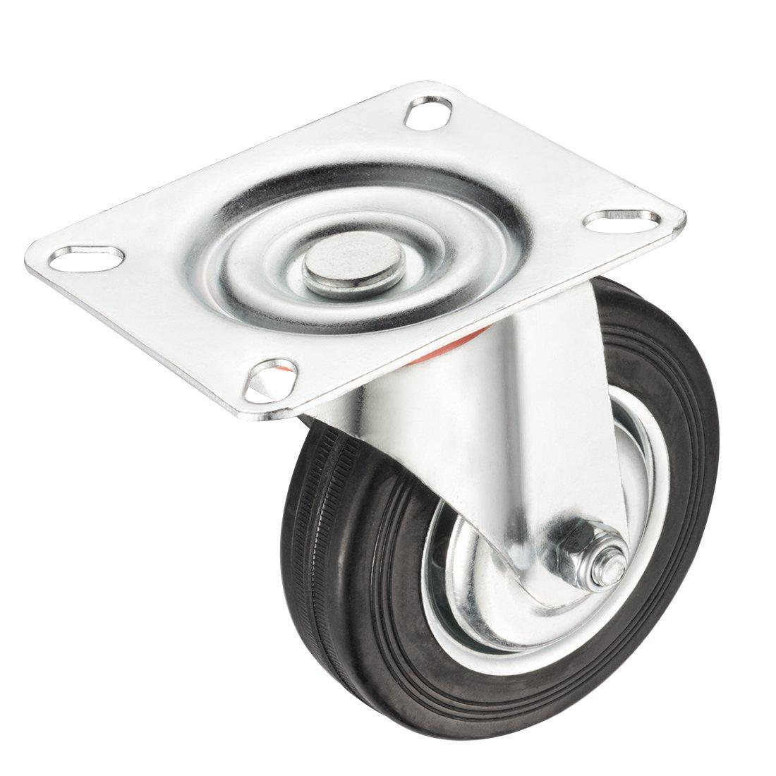 eDealMax 4 pulgadas de goma giratoria de la rueda, de 360 grados Plate Top, 154 lbs. Capacidad de carga: Amazon.com: Industrial & Scientific