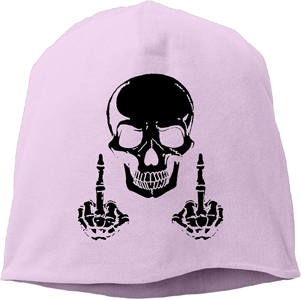 Janeither Headscarf Skeleton Skull with Middle Finger Hip-Hop Knitted Hat for Mens Womens Fashion Beanie Cap