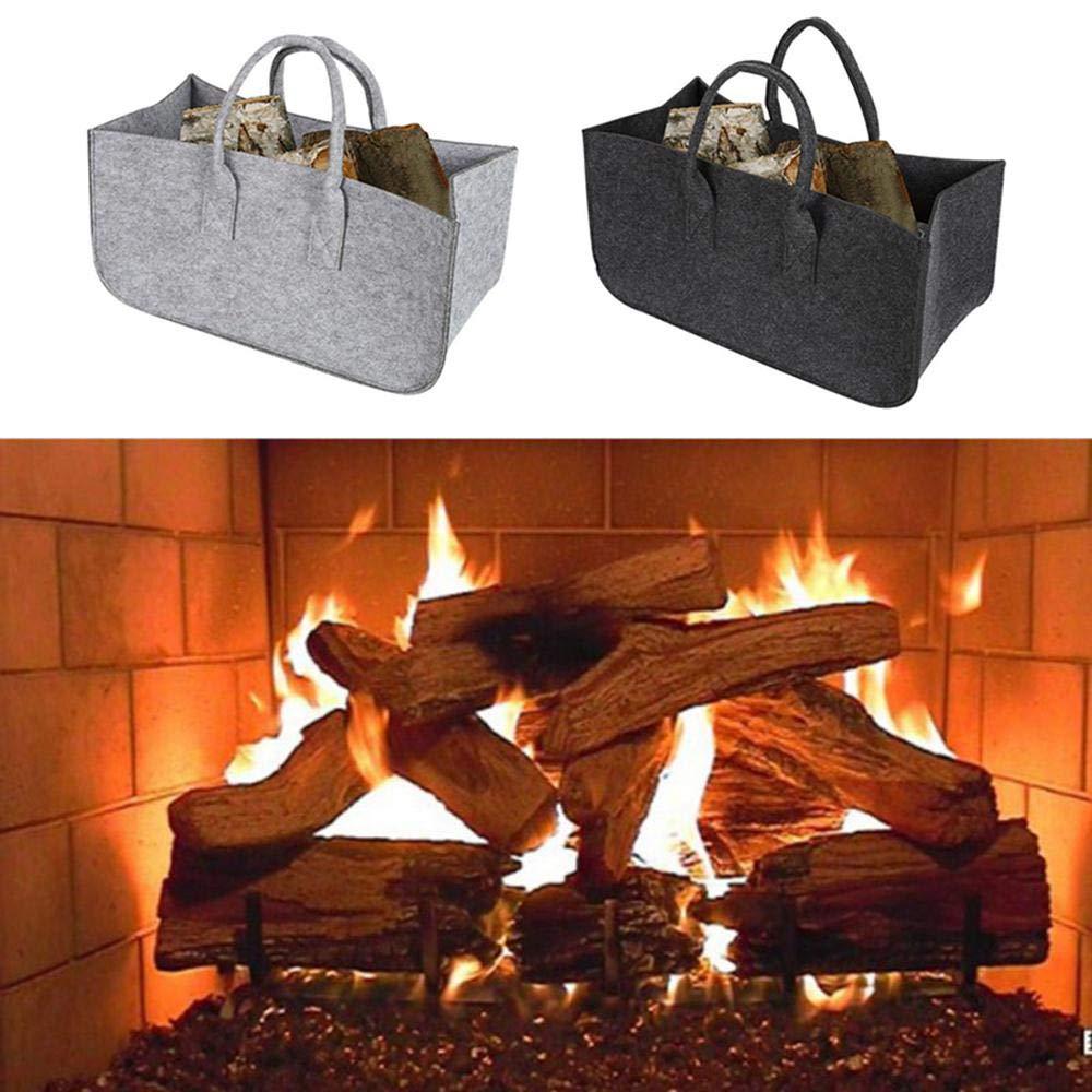 Felt Firewood Bag, Firewood Felt Bag/Oversize Felt Storage Basket/Collapsible & Convenient Home Organization Solution, for Office, Bedroom, Closet, Laundry Pawaca