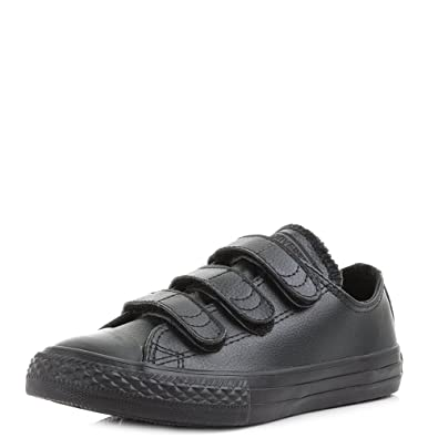 a2b09cadac956f Kids Converse Chuck Taylor All Star Triple Velcro Leather Black Trainers  SIZE c11