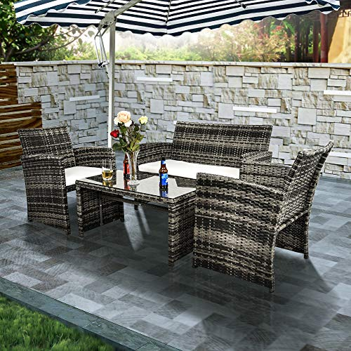 (Ecolinear 4pcs Rattan Sofa Cushion Seat Outdoor Wicker Furniture Conversation Set)