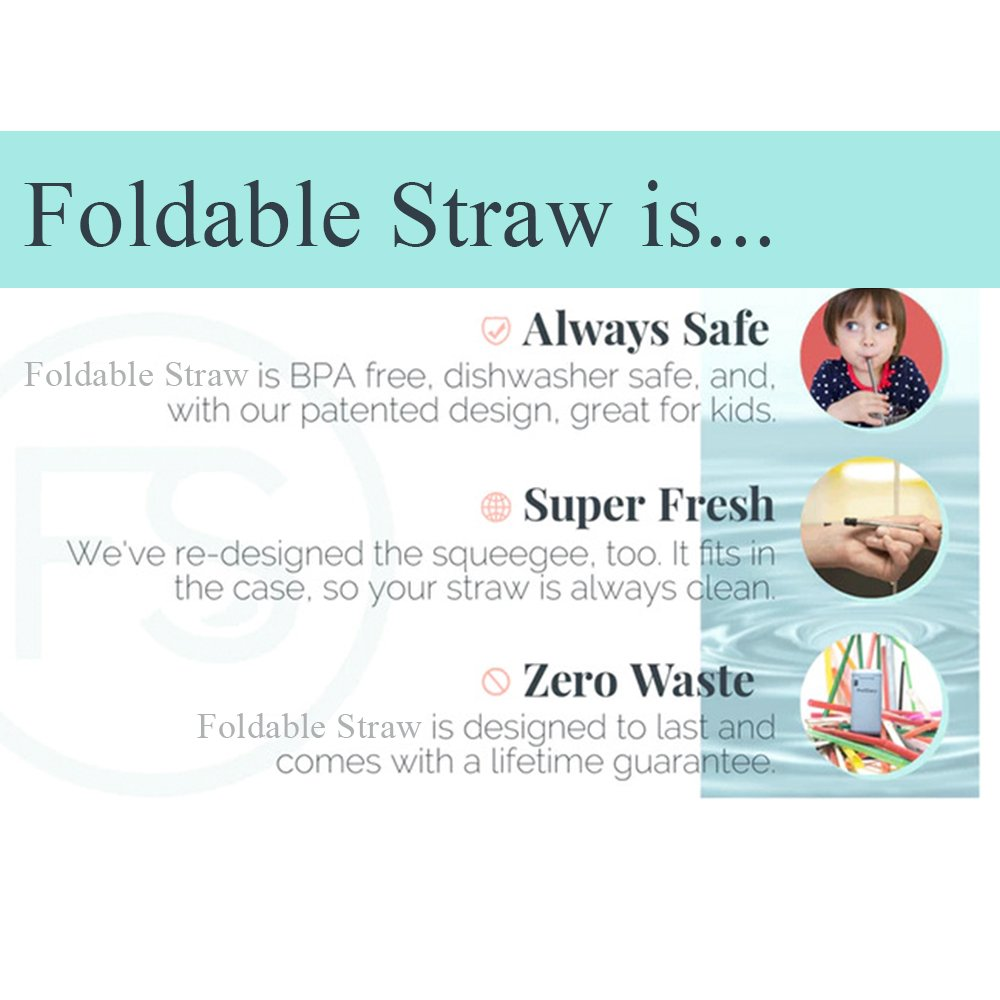 Rommeka Foldable Flexible Nontoxic Straw,Eco-Friendly,BPA Free,Reusable,Healthy,Portable,Unbreakable,Washable,Zero-Waste Premium Stainless Steel Drinking Straws,No Metal Aftertaste & 1 Travel Cases by Rommeka (Image #6)