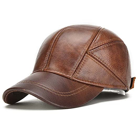Outdoor Protect Ear Really Leather Seniors Peaked Cap Cowhide Hat Adjustable Baseball Cap (Brown)