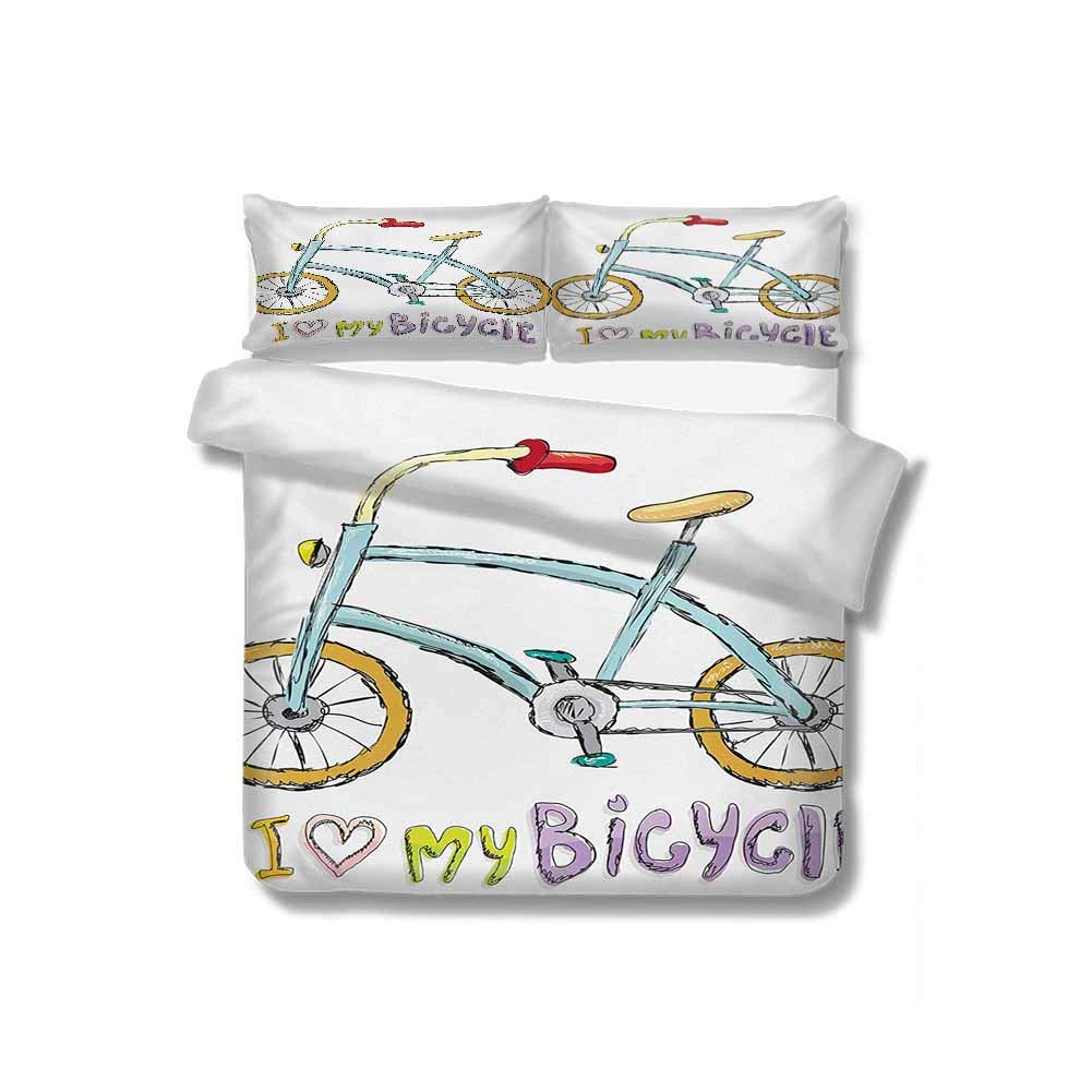 Flyerer Duvet Cover I Love My Bicycle Quote Print with A Little Fashionable Kids Bike with Pedals Cartoon 100% Cotton Bedding, 1 Quilt Cover and 2 Pillowcases, Zip Closure 68x86 inch