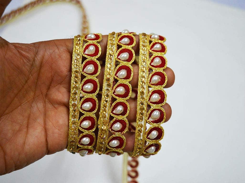9 Yards Latest Indian Lace Trim Golden Zari stone Work Sari Dupatta Sari Boarder