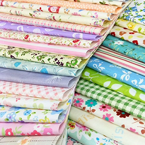 flic-flac Quilting Fabric Squares 100% Cotton Precut Quilt Sewing Floral Fabrics for Craft DIY (10 x 10 inches, 60pcs)