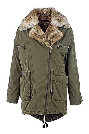Drykorn Damen Jacke Pelzmantel SEAHAM, Farbe  Armeegruen, Größe  L   Amazon.de  Bekleidung 7565d1286b