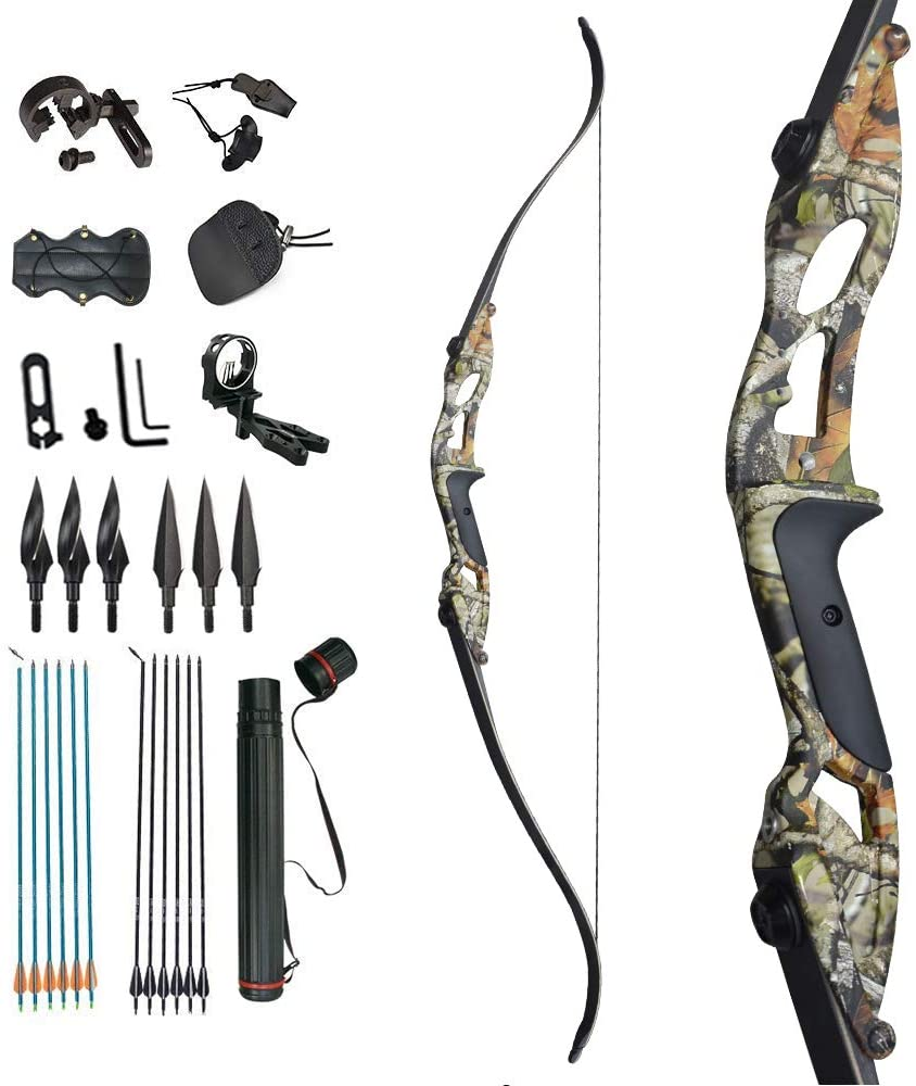 D Q Takedown Recurve Bow and Arrow Aduilt Set Aluminum Alloy Riser Right Hand for Outdoor Hunting Practice Shooting 30 35 40 45 50lbs