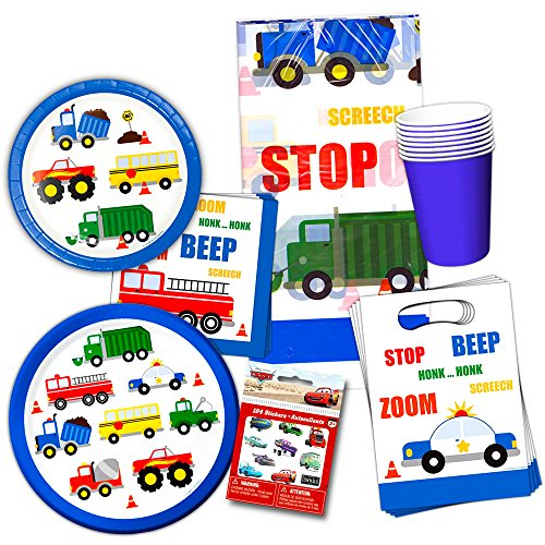 Cars and Trucks Party Supplies Ultimate Set -- Birthday Party Decorations, Party Favors, Plates, Cups, Napkins and More (Things That Go Party (Truck Birthday Party Favors)
