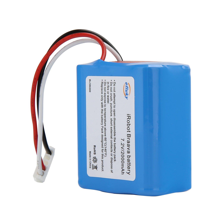 efluky 2000mAh 7,2 V NI-MH Ersatzbatterie für iRobot Braava 380.380T, Mint 5200, 5200B, 5200C MOPPING ROBOT etc.