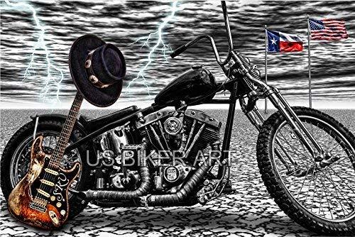 Harley Davidson Shovelhead motorcycle Stevie Ray Vaughan SRV guitar Texas Biker Art Print ()