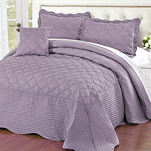 Home Soft Things Serenta Quilted Cotton 4 Piece Bedspread Set, King, Regal Orchid