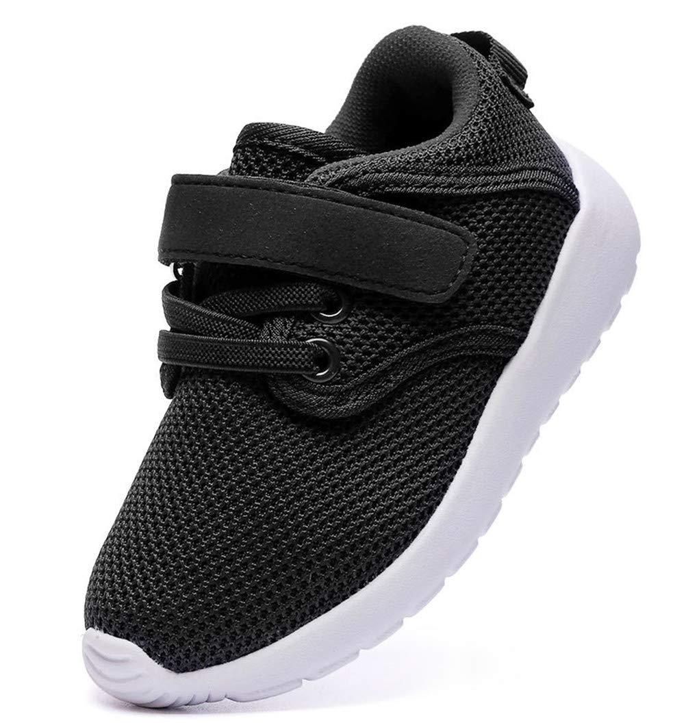 DADAWEN Boy's Girl's Lightweight Sneakers Cute Strap Athletic Running Shoes Black US Size 5.5 M Toddler