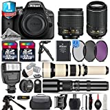 Holiday Saving Bundle for D3300 DSLR Camera + 18-55mm VR Lens + 55-200mm VR II Lens + 650-1300mm Telephoto Lens + 500mm Telephoto Lens + Flash + 1yr Extended Warranty - International Version