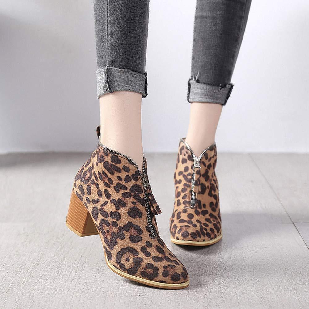 Cremallera Zapatos Moda Tobillo Beikoard De Leopardo Lido Mujeres Só vmN8wn0