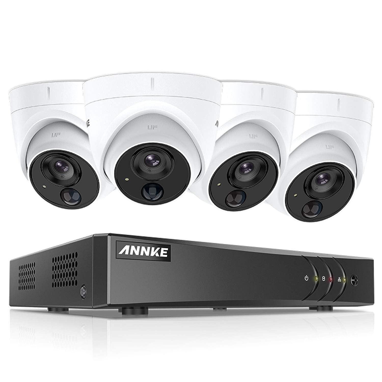 H.265+ 8CH DVR 3MP 5-en-1 CCTV C/ámara de Seguridad IP67 Interior//Exterior -1TB HDD ANNKE Kit de 4 C/ámaras de vigilancia 1080P PIR Detecci/ón de Movimiento Alarma de luz Intermitente