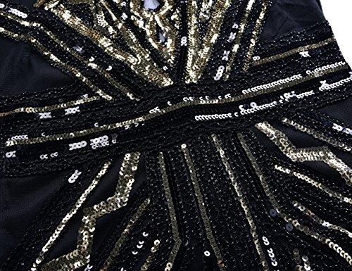 De Dco Femmes Kayamiya Gatsby De Bal Cocktail Courte Or V Paillettes Art 1920 Robe Col Robe qtvn1va