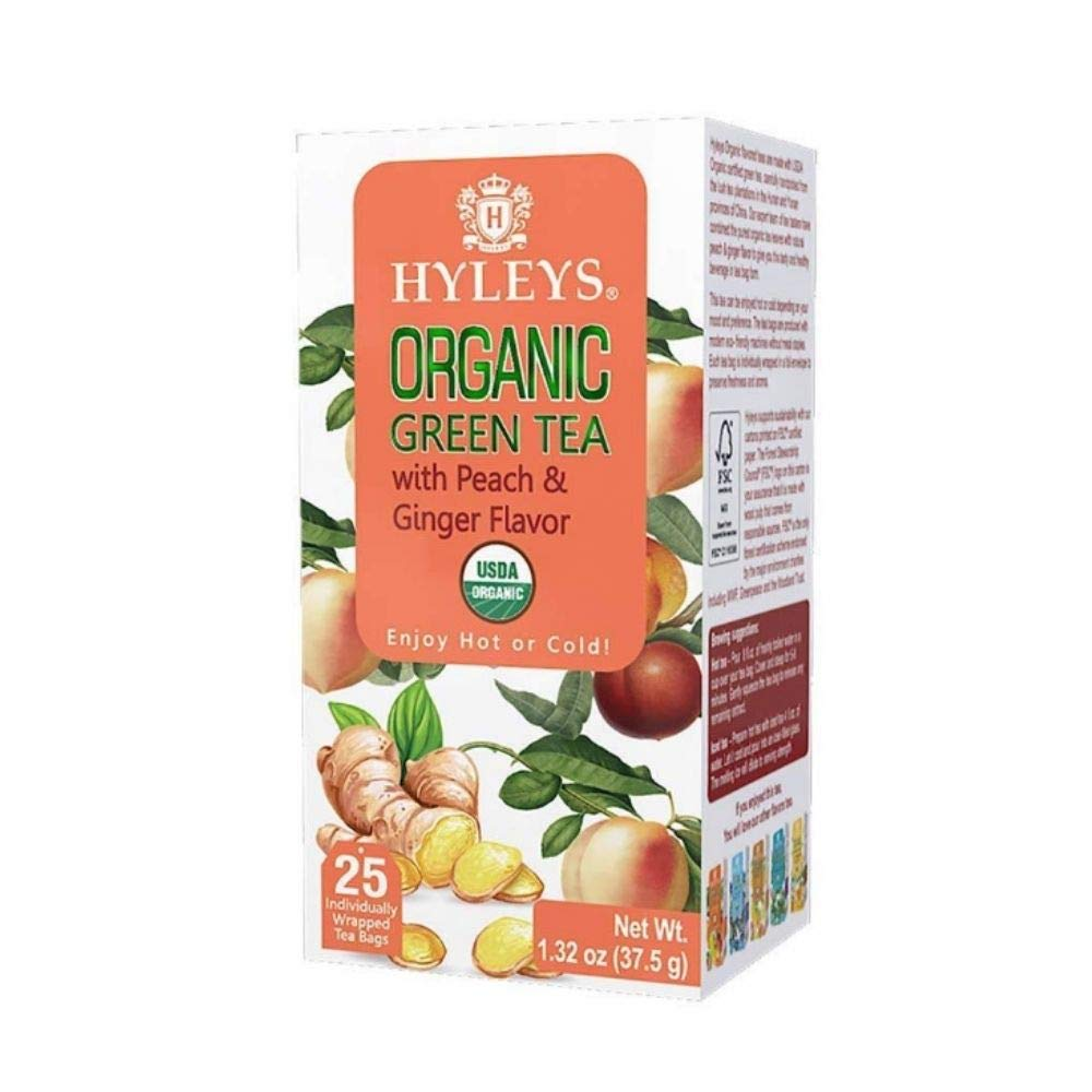 HYLEYS Tea Organic Green Tea Peach and Ginger Flavor - 25 Tea Bags (100% Natural, Sugar Free, Gluten Free and Non-GMO)
