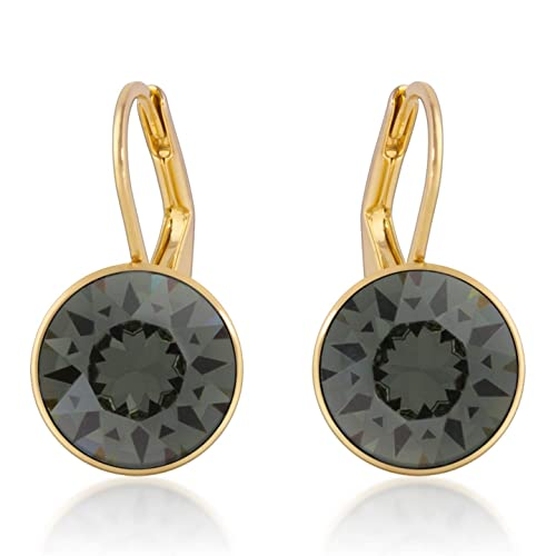 78f8de725 Image Unavailable. Image not available for. Color: Bella Mini Drop Earrings  with Black Diamond Round Crystals from Swarovski ...