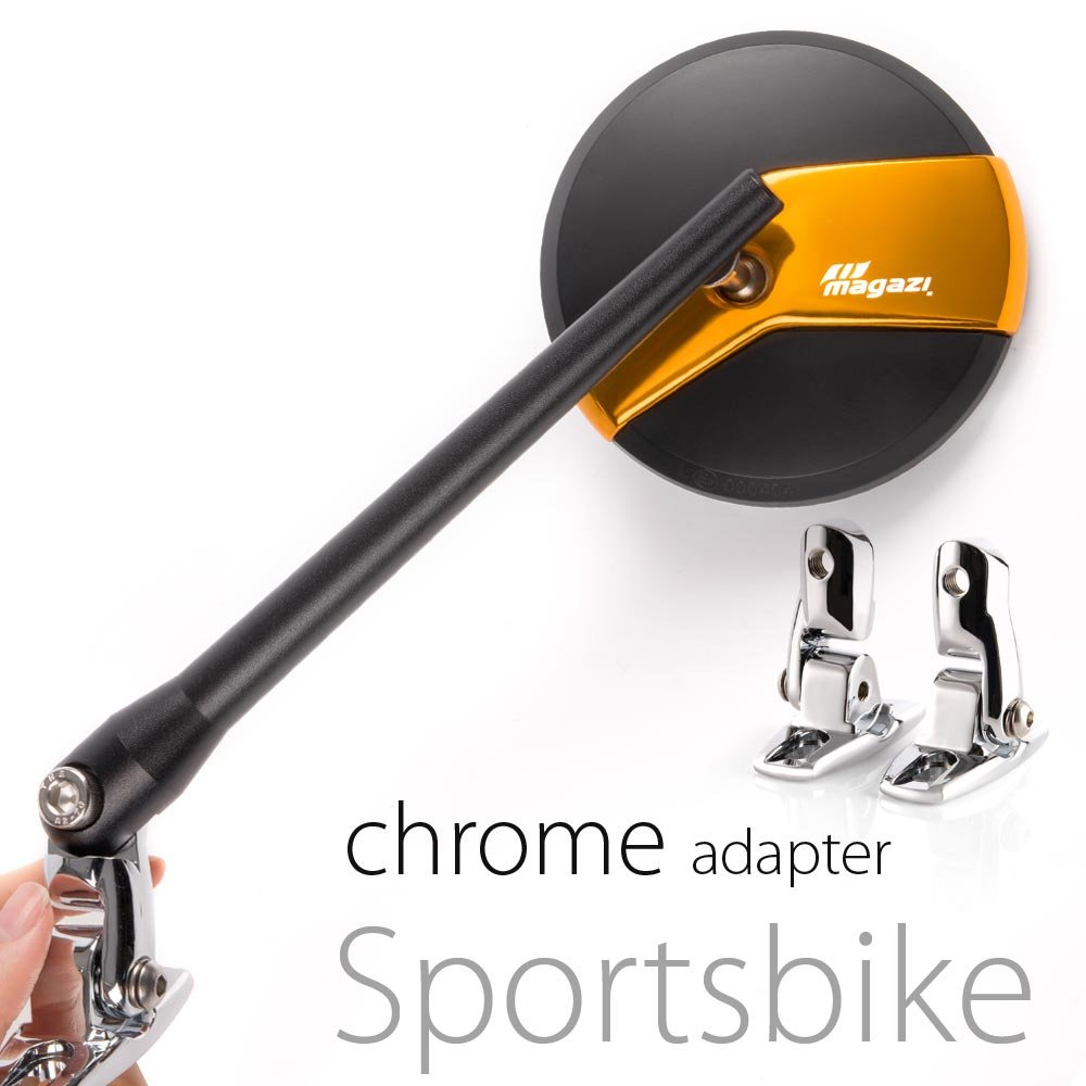 KiWAV Magazi Missie CNC aluminum motorcycle gold mirrors for Sports bike with chrome adapter
