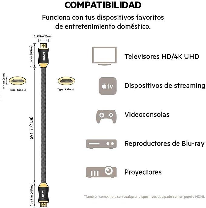 PremiumTech - 2M Cable HDMI 2.1 Soporta hasta 10K, 8K 60Hz y 4K 120Hz: Amazon.es: Electrónica