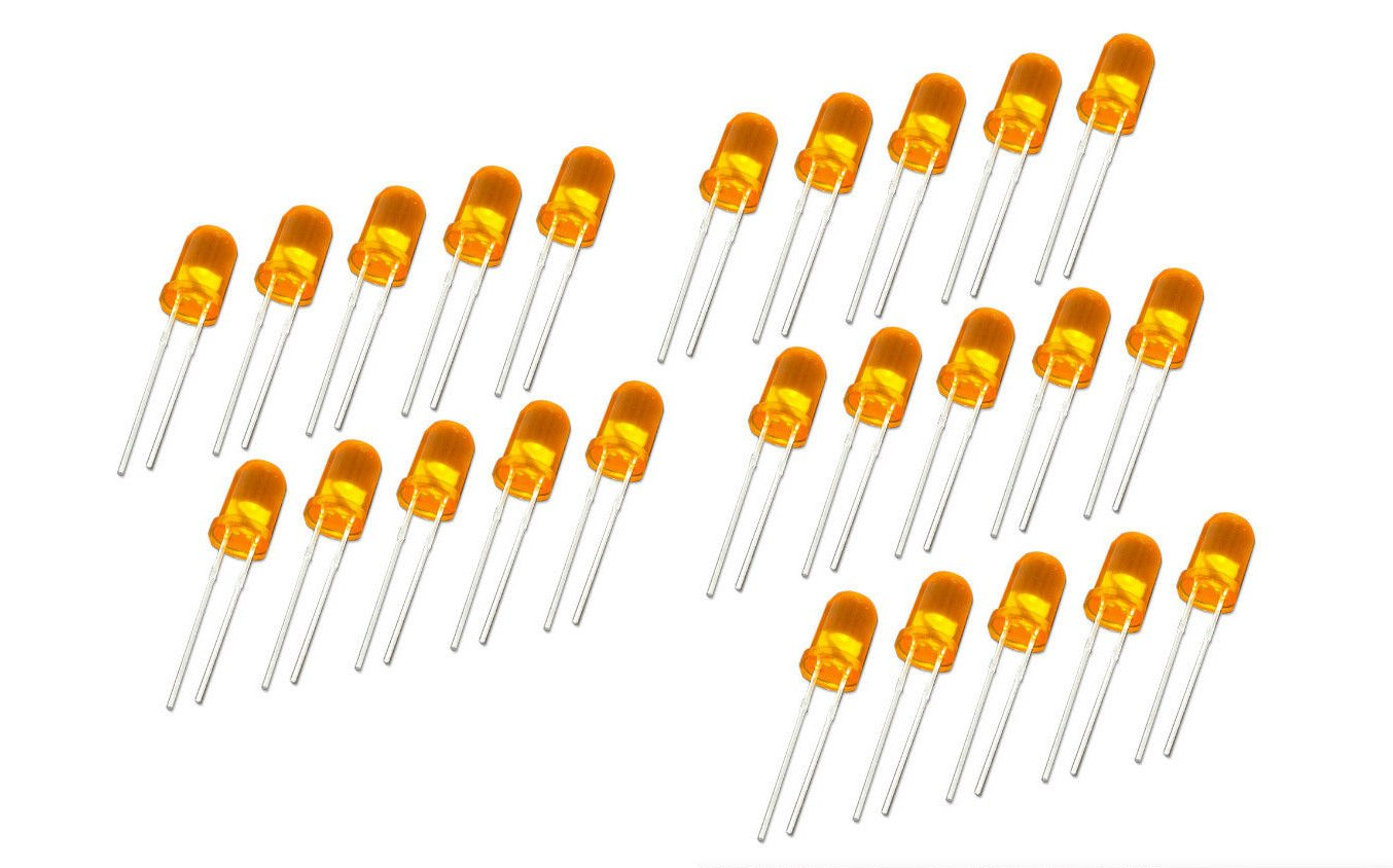 25 pezzi LED 3 mm Orange colore DIFFUS 20 ma per Arduino Raspberry Pi fai da te MissBirdler 4260509781947