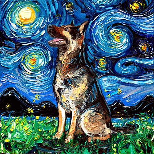 Starry Night German Shepherd Dog Profile Art by Aja choose size and type of paper Wall decor