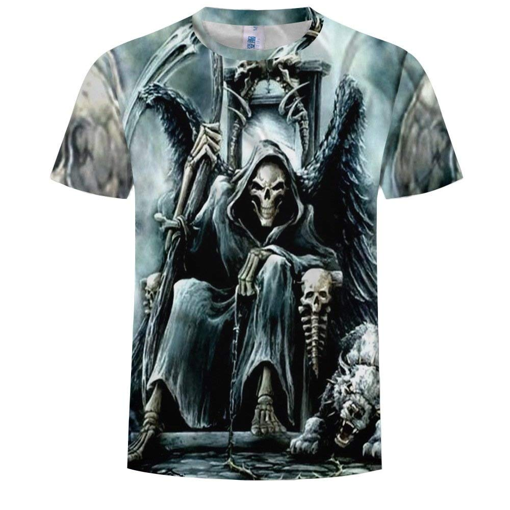 Kineede 3D T-Shirt Short Sleeve T-Shirt Ghost Crewneck Graphic Casual Printed Tee Tops