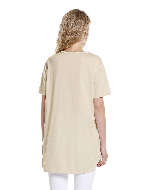ZAN.STYLE Women's Plus Size Slub Cotton Tunic Tee Shirt Long T Shirt for Leggings X-Large Style 2-Light Khaki by ZAN.STYLE (Image #2)