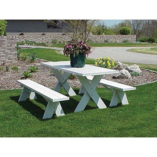 Amazon.com : Dura Trel Vinyl Picnic Table W/ Unattached Benches : Patio,  Lawn U0026 Garden