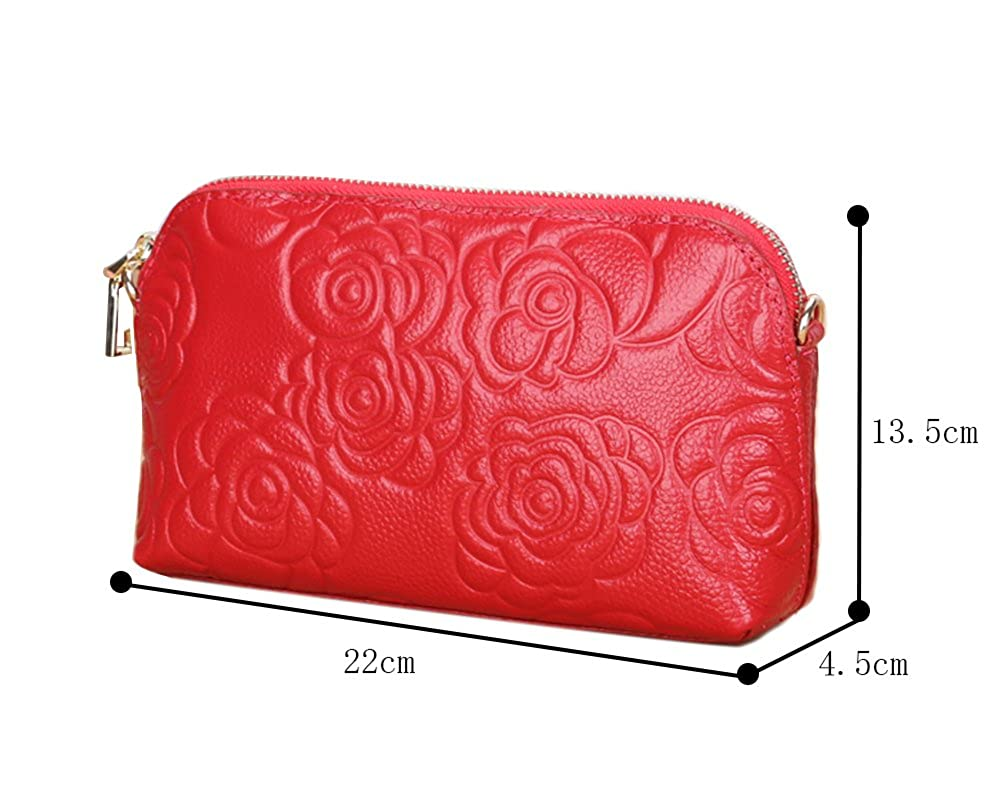 Genda 2Archer Embossed Roses Clutch Wristlet Handbag Purse Leather Wrist Wallet TW1189-BL