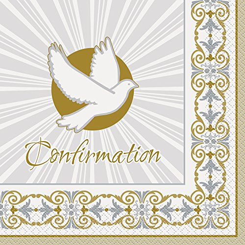 Gold & Silver Radiant Cross Confirmation Party Napkins, 16ct]()