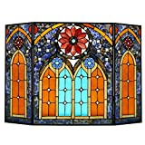 27.5''H Roman Style Stained Glass Cathedral Fireplace Screen