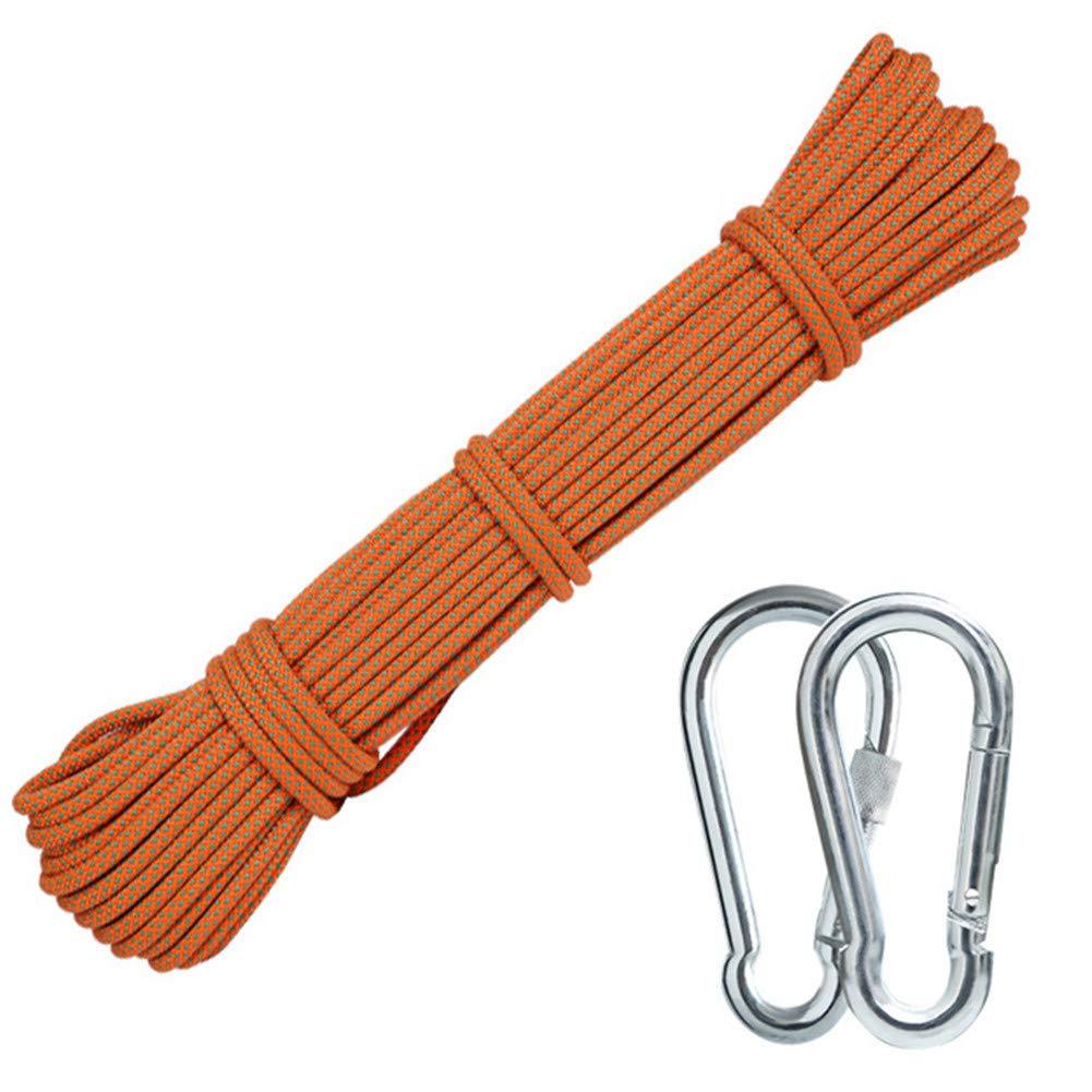 登山補助ロープ、2 *カラビナ付き6mm多機能物干しロープハイキング用ケイビングキャンプエンジニアリングレスキュー用品、オレンジ,80m  80m