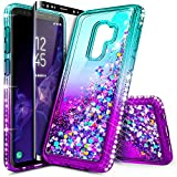 Galaxy S9 Case with Screen Protector (Full Coverage) for Girls Women, NageBee Glitter Liquid Sparkle Bling Floating Waterfall Quicksand Diamond Shockproof Cute Case for Samsung Galaxy S9 -Aqua/Purple