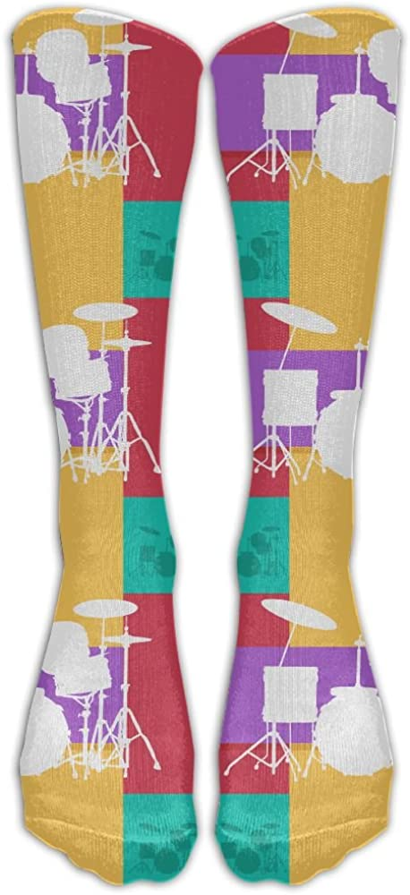 Retro Vintage Drum Kits Womens Crew Long Socks Sports Socks Sweat Uptake Football Socking