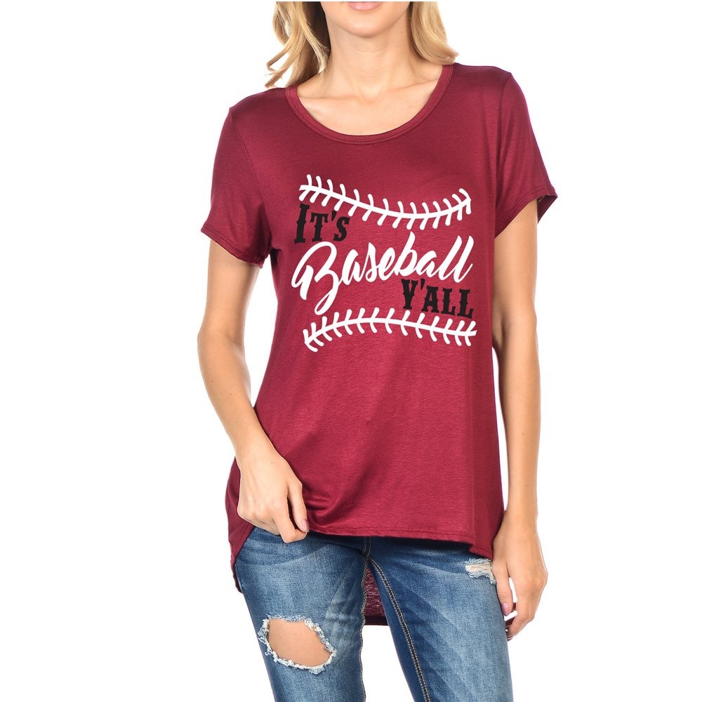 Burgundy Light So Shine Baseball Y'all Women's Scoop Neck Short Sleeves Top With Low and High Sweep(NT6123466)