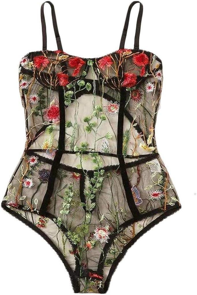 Sheer Floral Black Women Lace Bra Top Boudoir Bodysuit Siamese Lingerie M-2XL