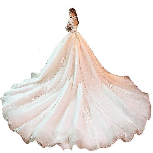Vestido de novia Las mujeres de manga larga con cuello en V de ...