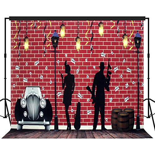 Musykrafties Roaring 1920s Street Gangster and Flapper Girl Theme Photography Backdrop Background Party Wall and Floors Photo Booth Props (1920 Backdrop)