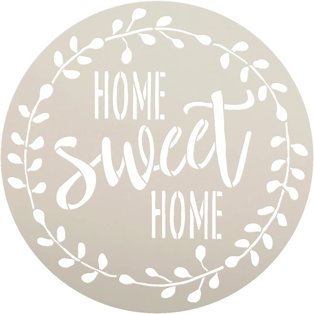 Home Sweet Home Stencil with Laurel Wreath by StudioR12   Reusable Mylar Template for Painting Wood Signs   Round Design   DIY Home Decor Country Farmhouse Style   Mixed Media   Select Size (15